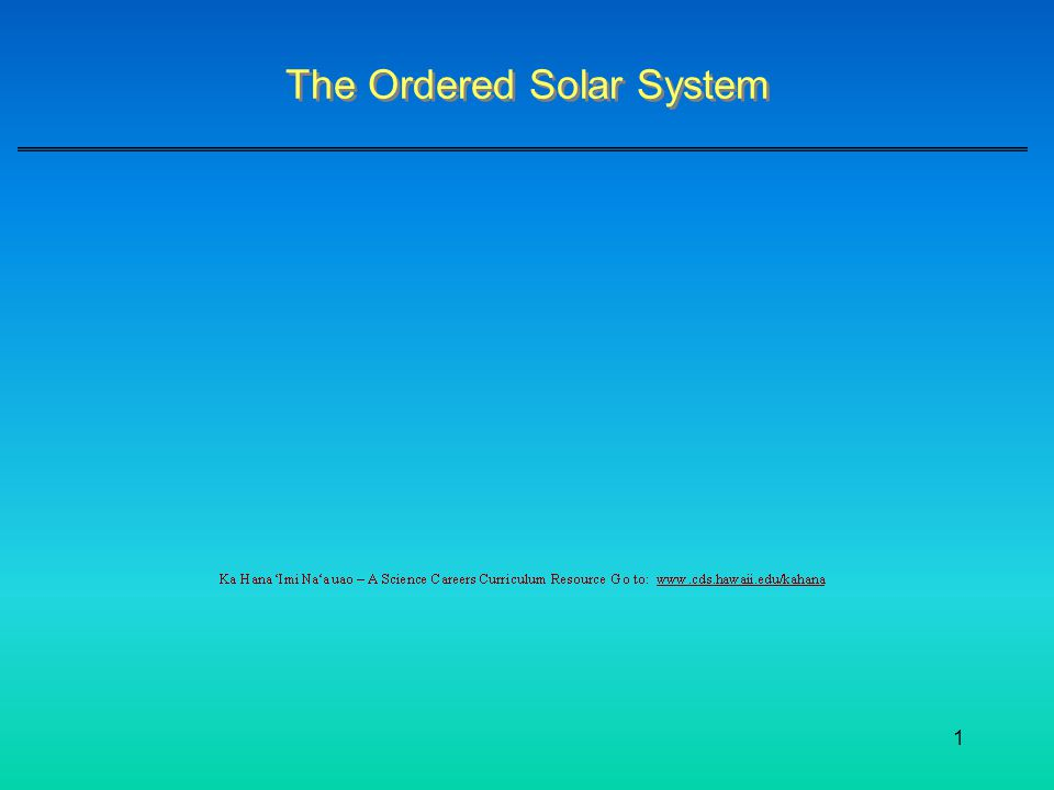 1 The Ordered Solar System