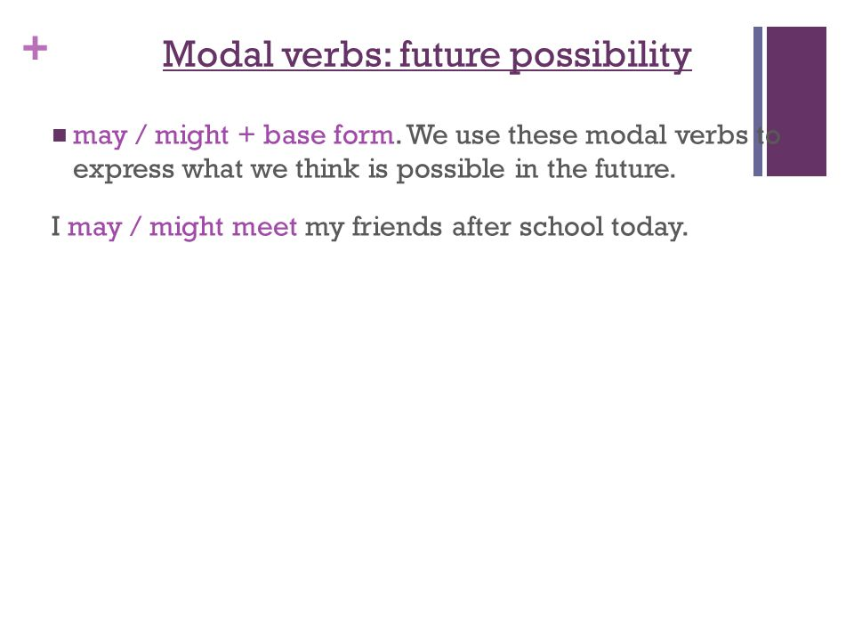 + Modal verbs: future possibility may / might + base form.