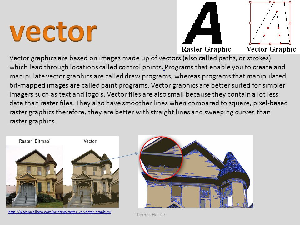 Thomas Harker Vector graphics are based on images made up of vectors (also called paths, or strokes) which lead through locations called control point