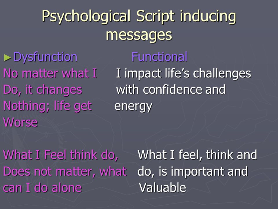 Psychological Script inducing messages ► Dysfunction Functional No matter what I I impact life's challenges Do, it changes with confidence and Nothing; life get energy Worse What I Feel think do, What I feel, think and Does not matter, what do, is important and can I do alone Valuable