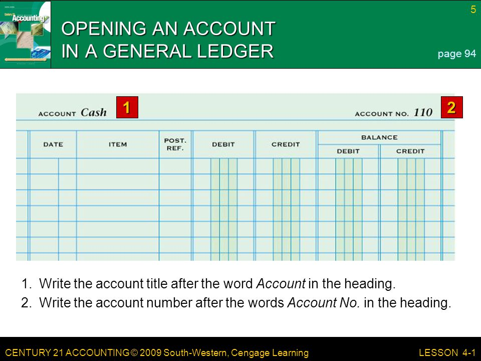 CENTURY 21 ACCOUNTING © 2009 South-Western, Cengage Learning 5 LESSON 4-1 1.Write the account title after the word Account in the heading. 2.Write the