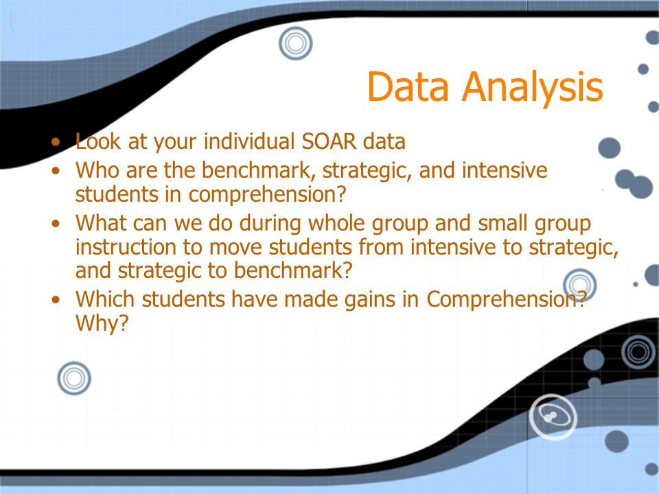 Data Analysis Look at your individual SOAR data Who are the benchmark, strategic, and intensive students in comprehension? What can we do during whole