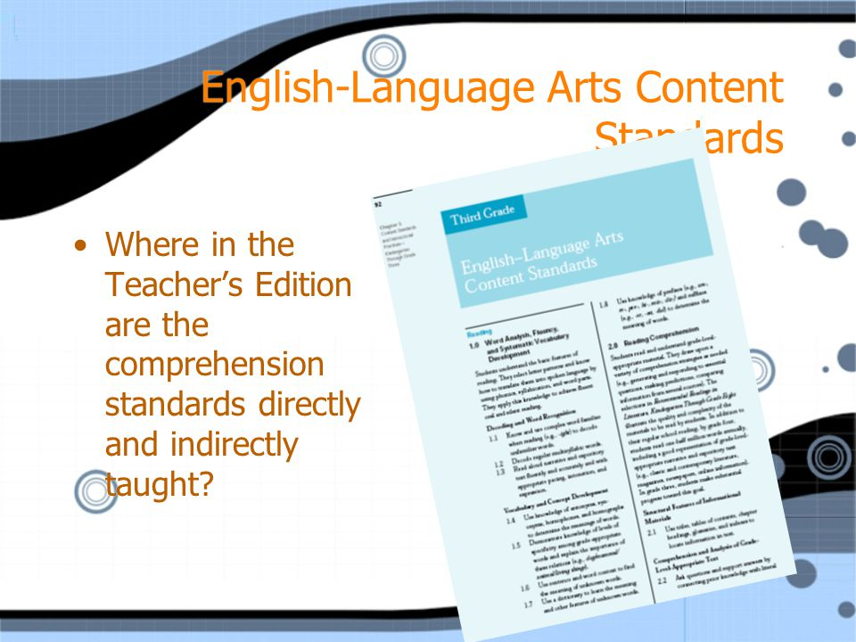 English-Language Arts Content Standards Where in the Teacher's Edition are the comprehension standards directly and indirectly taught