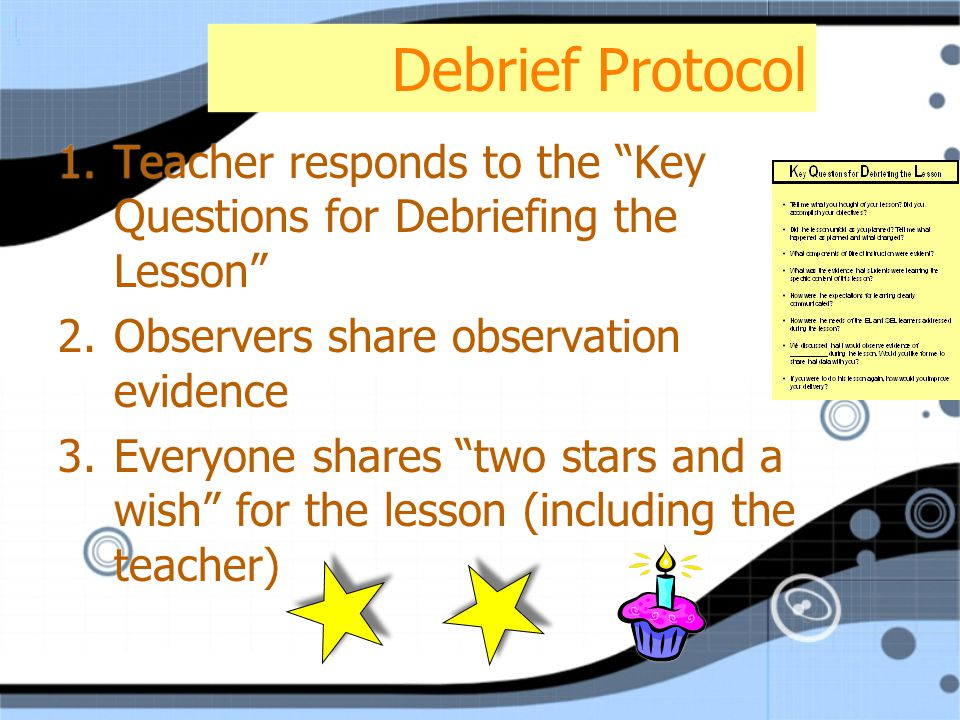 Debrief Protocol 1.Teacher responds to the Key Questions for Debriefing the Lesson 2.Observers share observation evidence 3.Everyone shares two stars and a wish for the lesson (including the teacher) 1.Teacher responds to the Key Questions for Debriefing the Lesson 2.Observers share observation evidence 3.Everyone shares two stars and a wish for the lesson (including the teacher)