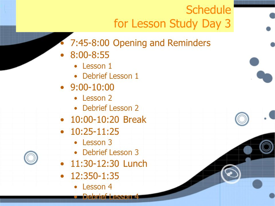 Schedule for Lesson Study Day 3 7:45-8:00 Opening and Reminders 8:00-8:55 Lesson 1 Debrief Lesson 1 9:00-10:00 Lesson 2 Debrief Lesson 2 10:00-10:20 Break 10:25-11:25 Lesson 3 Debrief Lesson 3 11:30-12:30 Lunch 12:350-1:35 Lesson 4 Debrief Lesson 4 7:45-8:00 Opening and Reminders 8:00-8:55 Lesson 1 Debrief Lesson 1 9:00-10:00 Lesson 2 Debrief Lesson 2 10:00-10:20 Break 10:25-11:25 Lesson 3 Debrief Lesson 3 11:30-12:30 Lunch 12:350-1:35 Lesson 4 Debrief Lesson 4