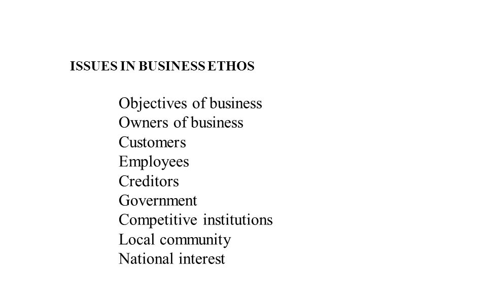 ISSUES IN BUSINESS ETHOS Objectives of business Owners of business Customers Employees Creditors Government Competitive institutions Local community National interest