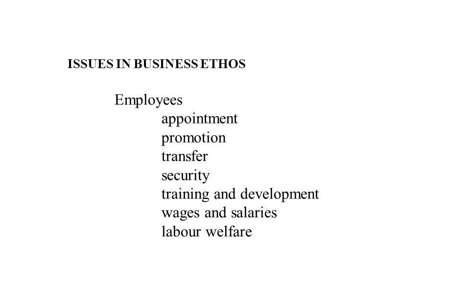 ISSUES IN BUSINESS ETHOS Employees appointment promotion transfer security training and development wages and salaries labour welfare