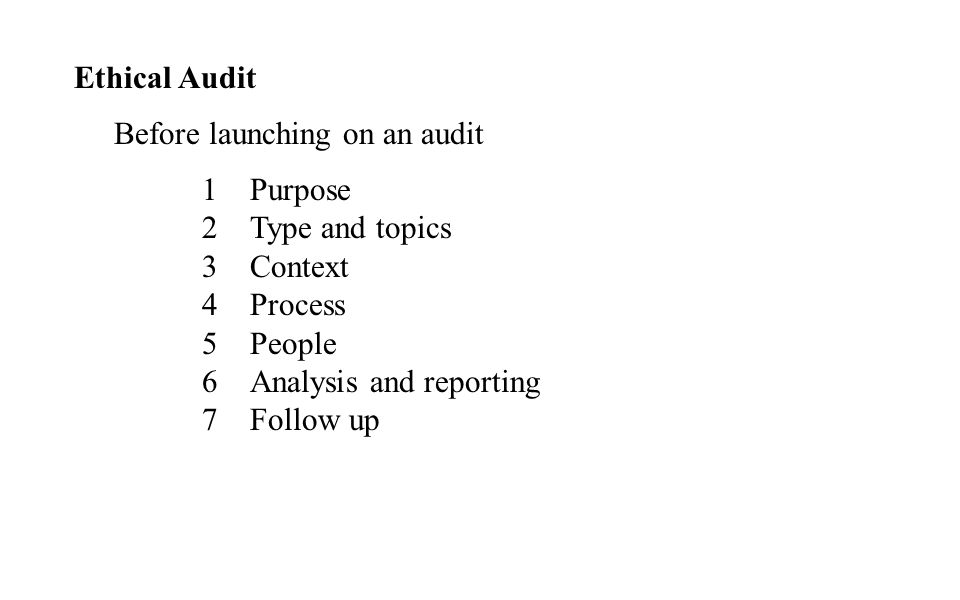 Ethical Audit Before launching on an audit 1Purpose 2Type and topics 3Context 4Process 5People 6Analysis and reporting 7Follow up