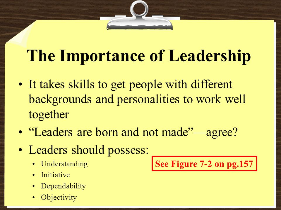 The Importance of Leadership It takes skills to get people with different backgrounds and personalities to work well together Leaders are born and not made —agree.