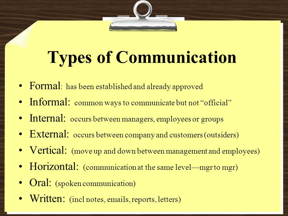 Types of Communication Formal : has been established and already approved Informal: common ways to communicate but not official Internal: occurs between managers, employees or groups External: occurs between company and customers (outsiders) Vertical: (move up and down between management and employees) Horizontal: (communication at the same level—mgr to mgr) Oral: (spoken communication) Written: (incl notes, emails, reports, letters)