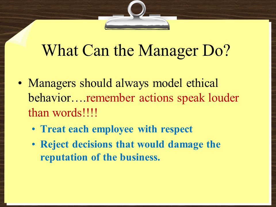What Can the Manager Do.