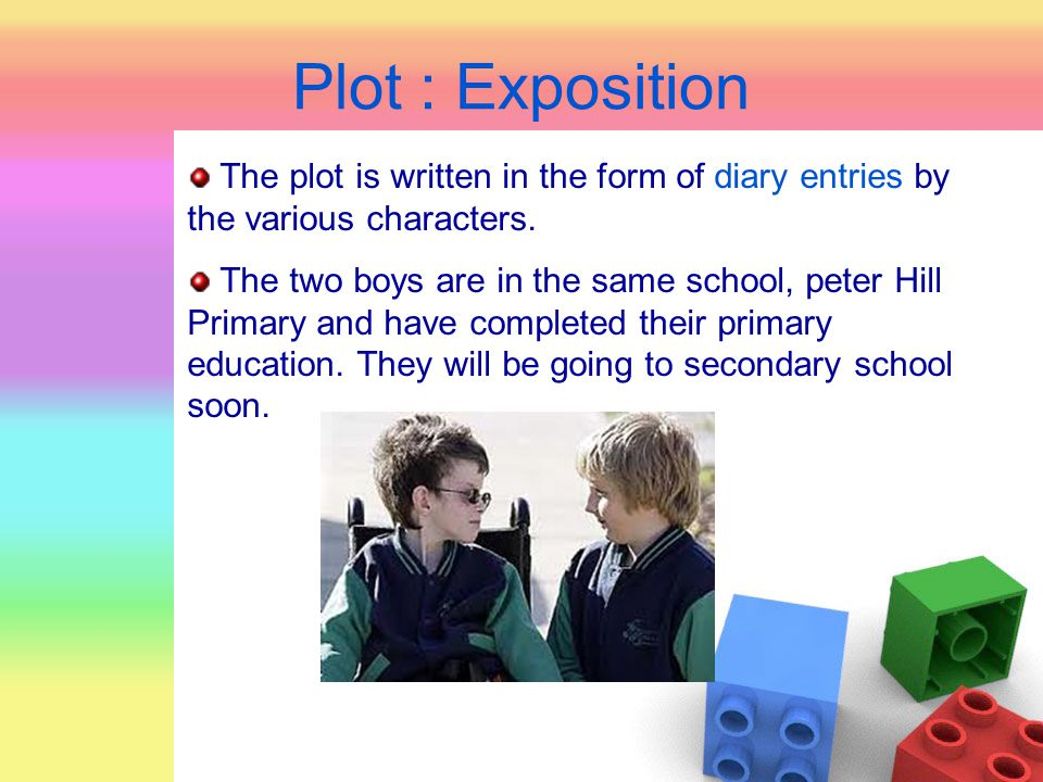 Plot : Exposition The plot is written in the form of diary entries by the various characters. The two boys are in the same school, peter Hill Primary