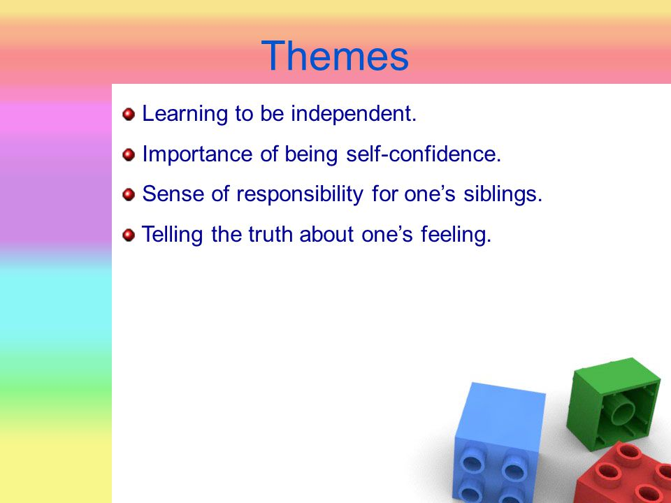 Themes Learning to be independent. Importance of being self-confidence. Sense of responsibility for one's siblings. Telling the truth about one's feel