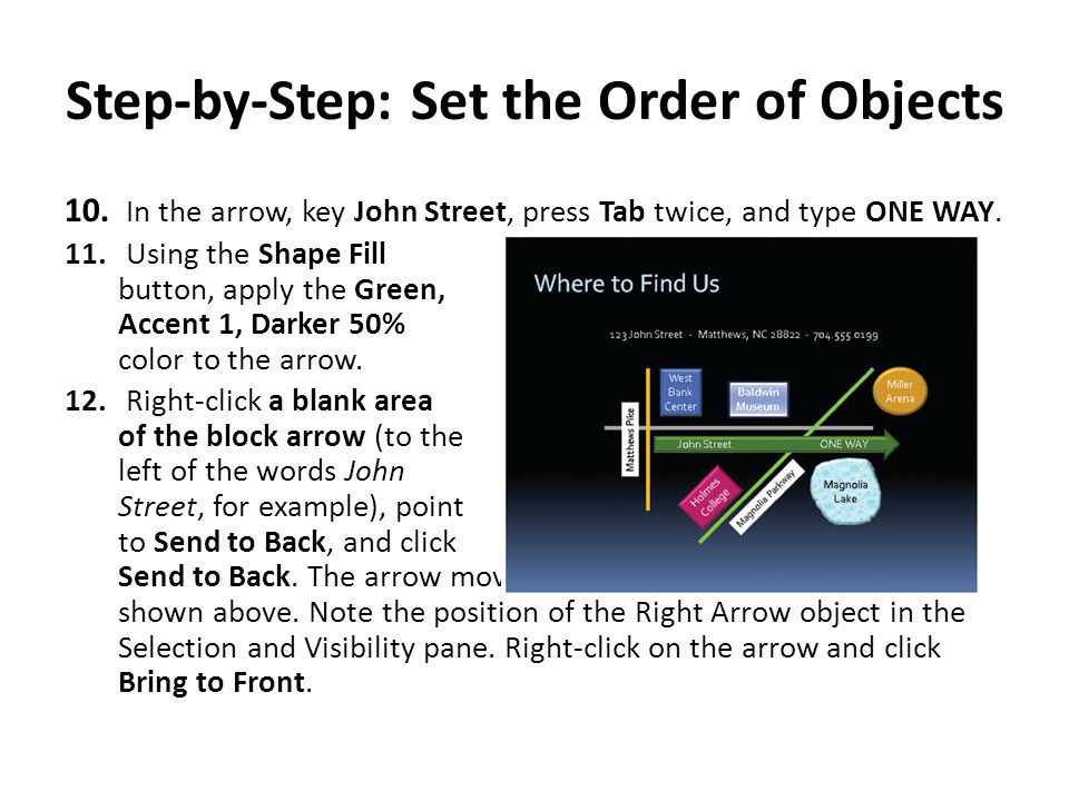 Step-by-Step: Set the Order of Objects 10.