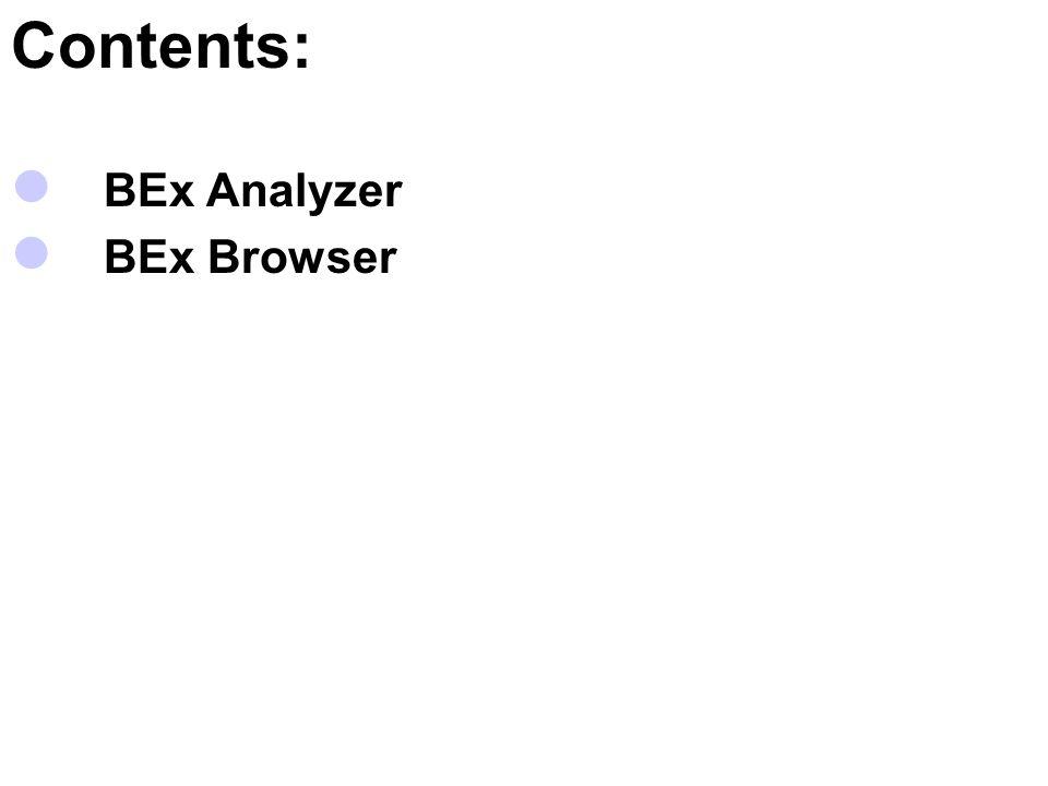 Contents: BEx Analyzer BEx Browser