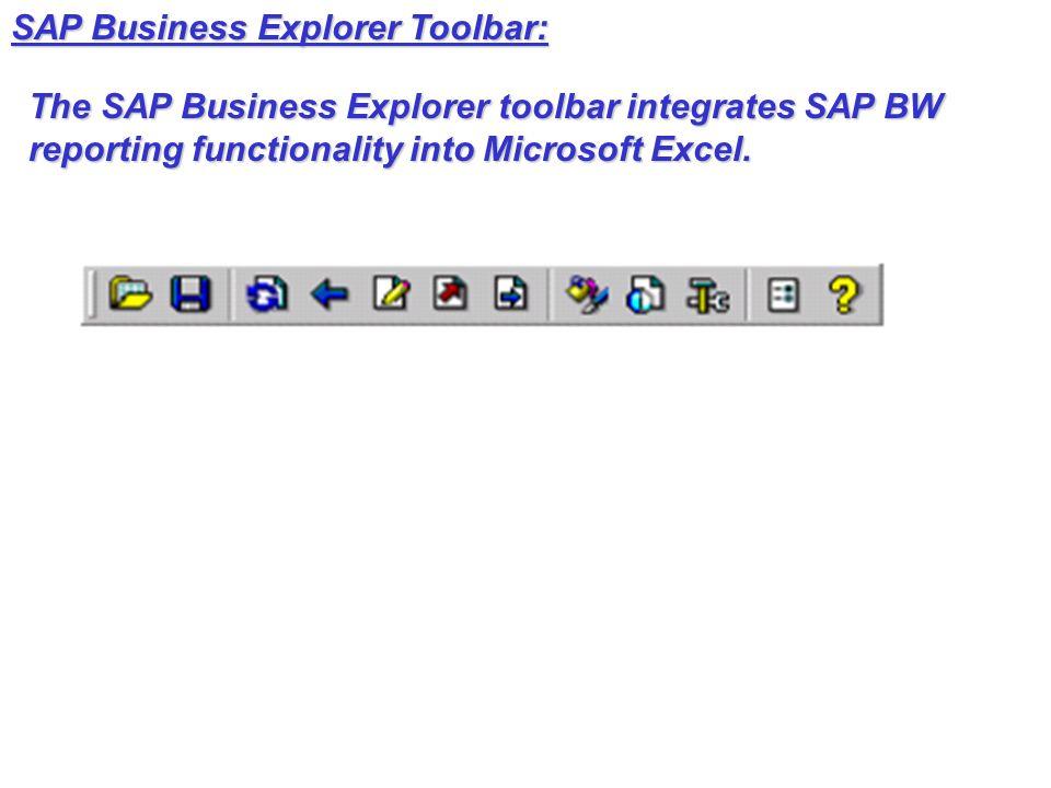 SAP Business Explorer Toolbar: The SAP Business Explorer toolbar integrates SAP BW reporting functionality into Microsoft Excel.