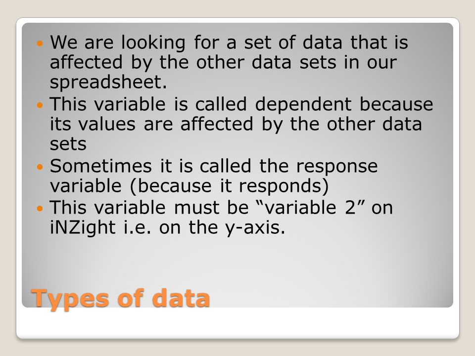 Types of data The x-axis is called the explanatory variable or the independent variable Explanatory or Independent Variable Dependant or Response Variable