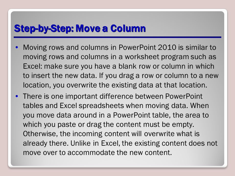 Step-by-Step: Move a Column Moving rows and columns in PowerPoint 2010 is similar to moving rows and columns in a worksheet program such as Excel: mak