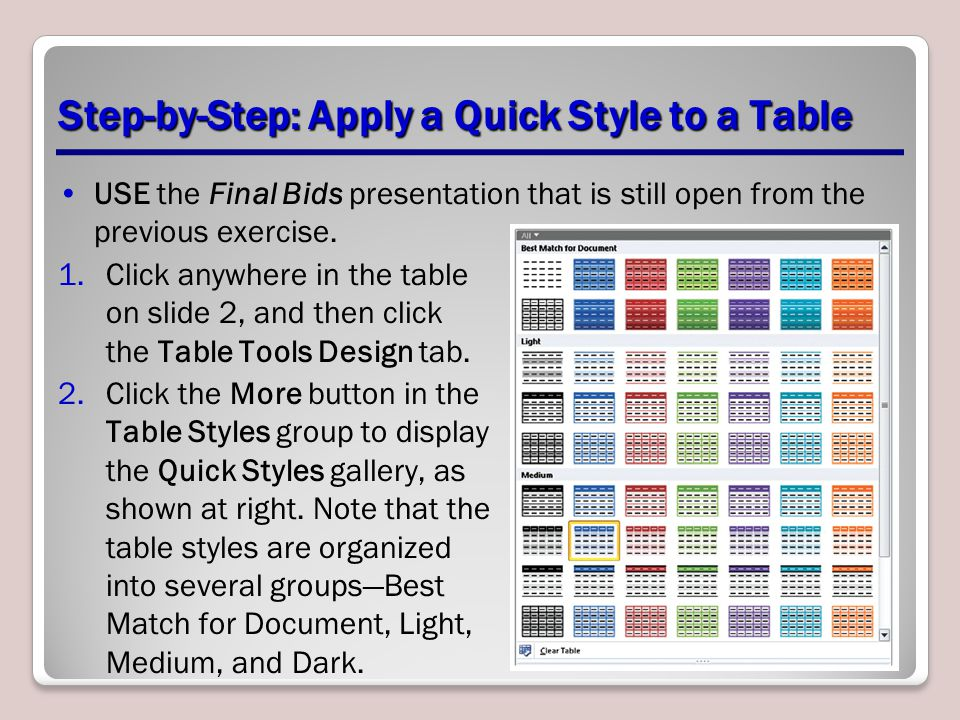 Step-by-Step: Apply a Quick Style to a Table USE the Final Bids presentation that is still open from the previous exercise. 1.Click anywhere in the ta