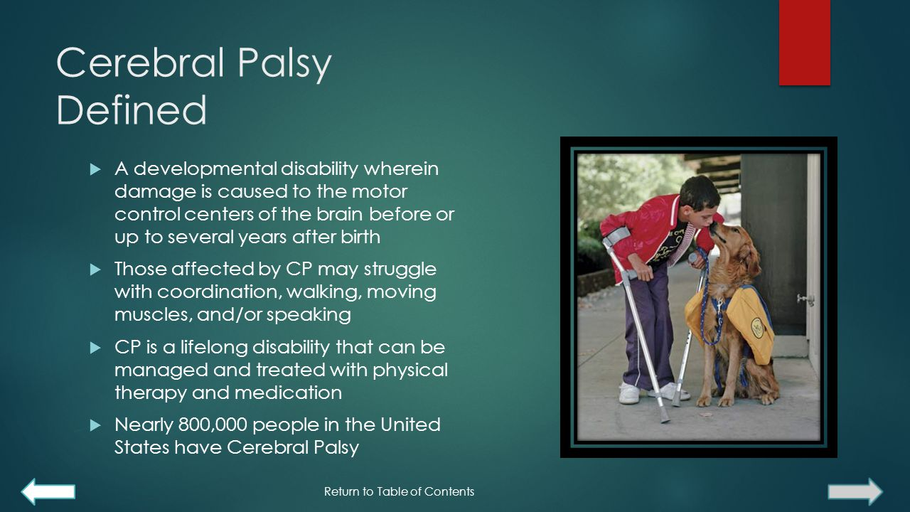 Cerebral Palsy Defined  A developmental disability wherein damage is caused to the motor control centers of the brain before or up to several years after birth  Those affected by CP may struggle with coordination, walking, moving muscles, and/or speaking  CP is a lifelong disability that can be managed and treated with physical therapy and medication  Nearly 800,000 people in the United States have Cerebral Palsy Return to Table of Contents