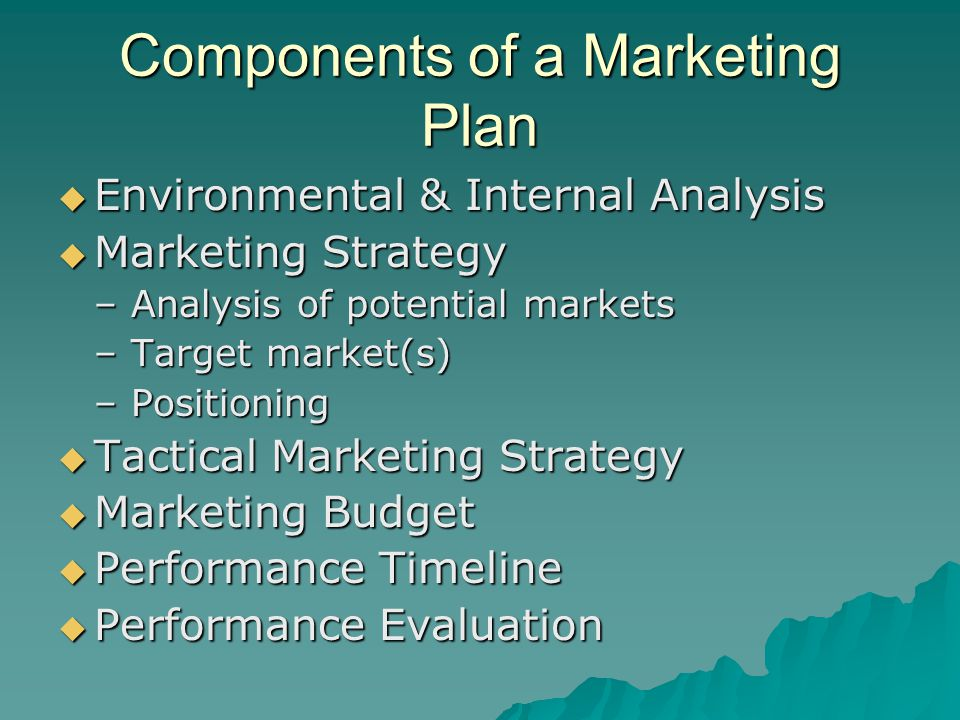 Components of a Marketing Plan  Environmental & Internal Analysis  Marketing Strategy –Analysis of potential markets –Target market(s) –Positioning  Tactical Marketing Strategy  Marketing Budget  Performance Timeline  Performance Evaluation