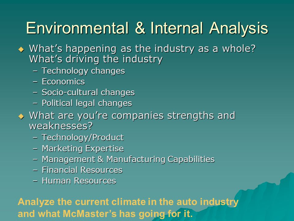 Environmental & Internal Analysis  What's happening as the industry as a whole.