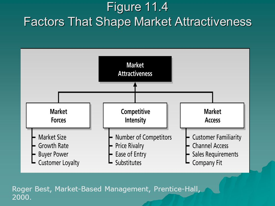 Figure 11.4 Factors That Shape Market Attractiveness Roger Best, Market-Based Management, Prentice-Hall, 2000.
