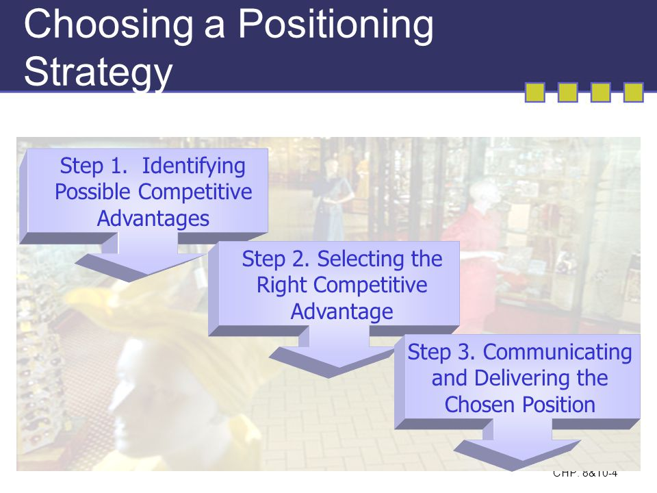 CHP: 8&10-4 Choosing a Positioning Strategy Step 1. Identifying Possible Competitive Advantages Step 2. Selecting the Right Competitive Advantage Step