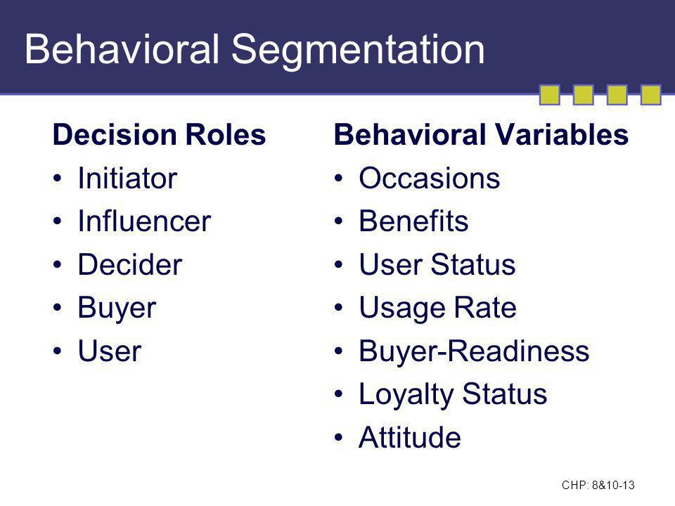 CHP: 8&10-14 Behavioral Segmentation Breakdown