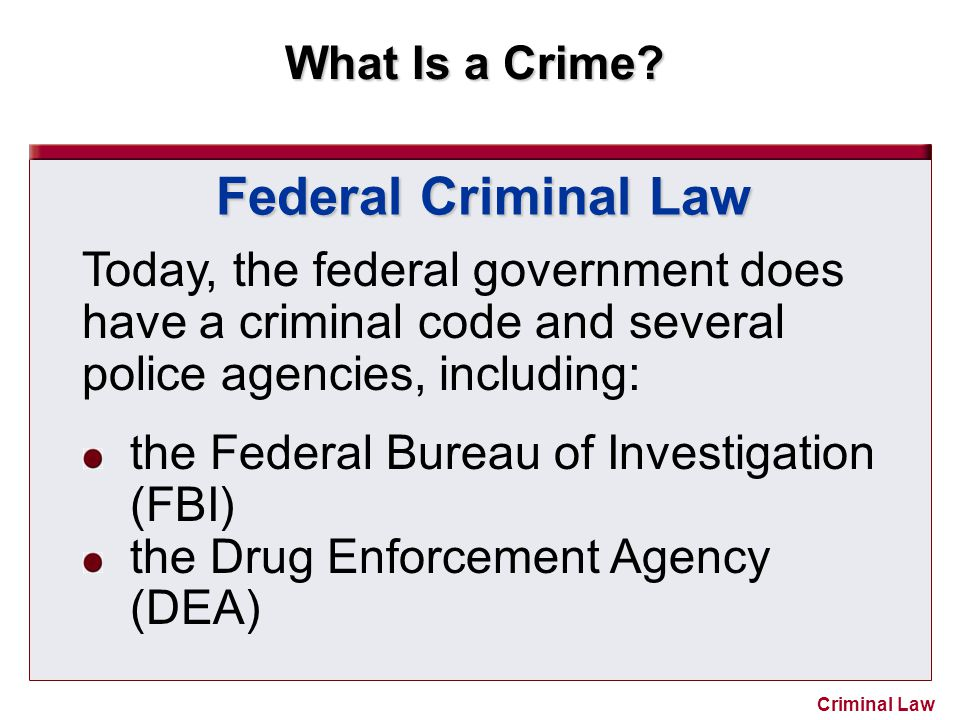 What Is a Crime? Criminal Law Federal Criminal Law Today, the federal government does have a criminal code and several police agencies, including: the