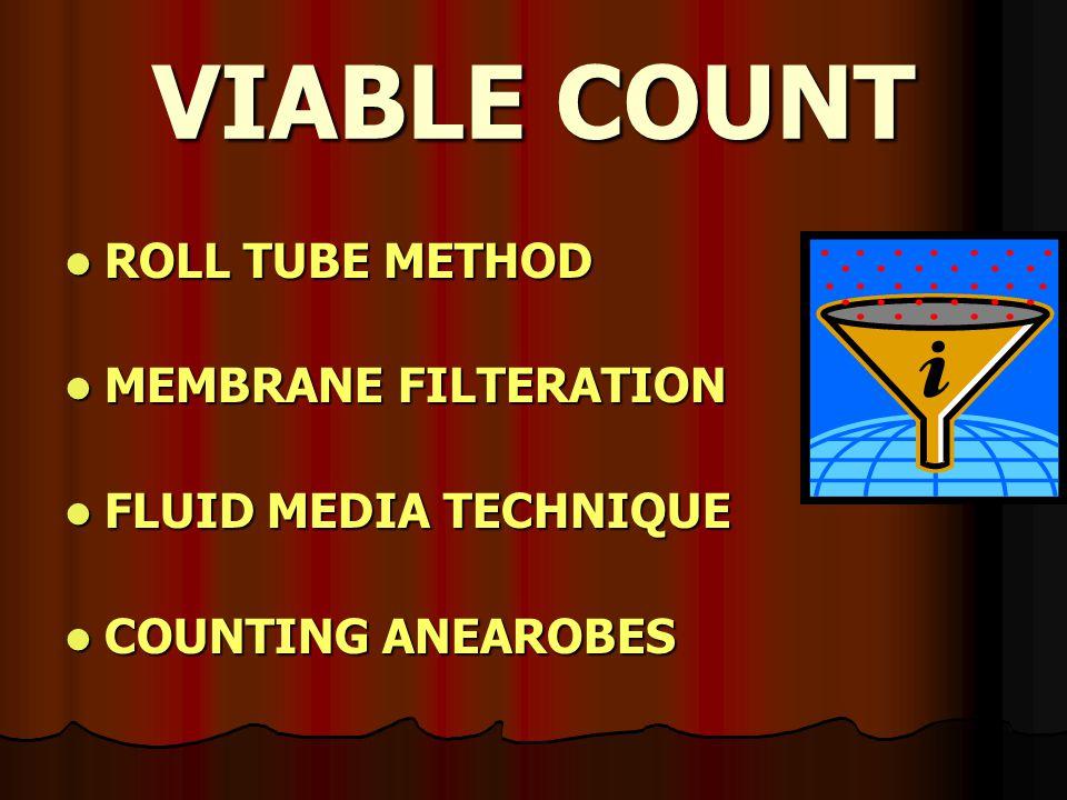 VIABLE COUNT ROLL TUBE METHOD ROLL TUBE METHOD MEMBRANE FILTERATION MEMBRANE FILTERATION FLUID MEDIA TECHNIQUE FLUID MEDIA TECHNIQUE COUNTING ANEAROBE