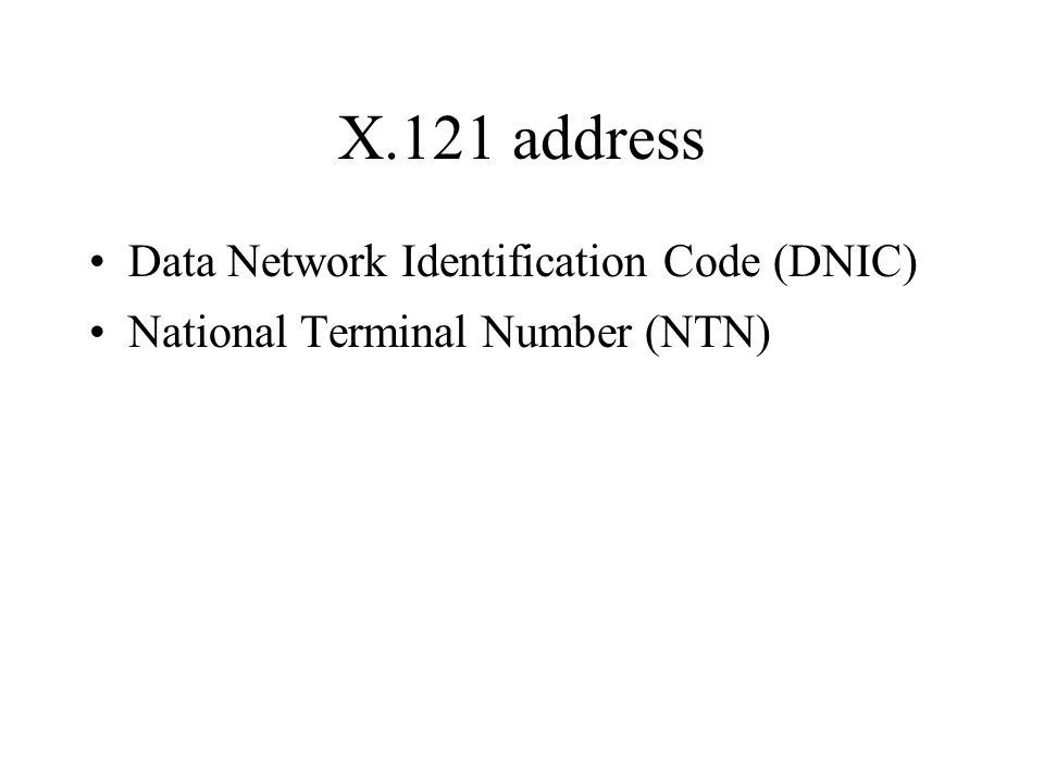Data Network Identification Code (DNIC) National Terminal Number (NTN)