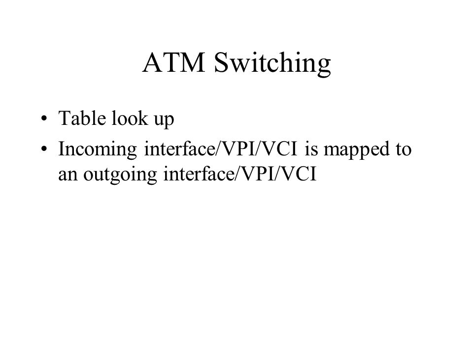 ATM Switching Table look up Incoming interface/VPI/VCI is mapped to an outgoing interface/VPI/VCI