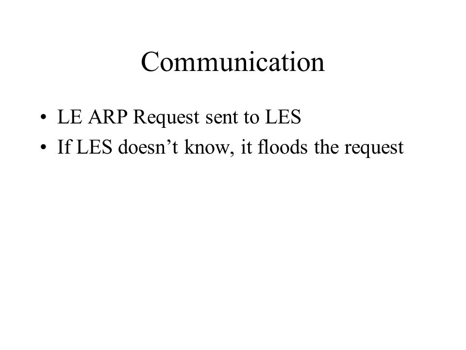Communication LE ARP Request sent to LES If LES doesn't know, it floods the request