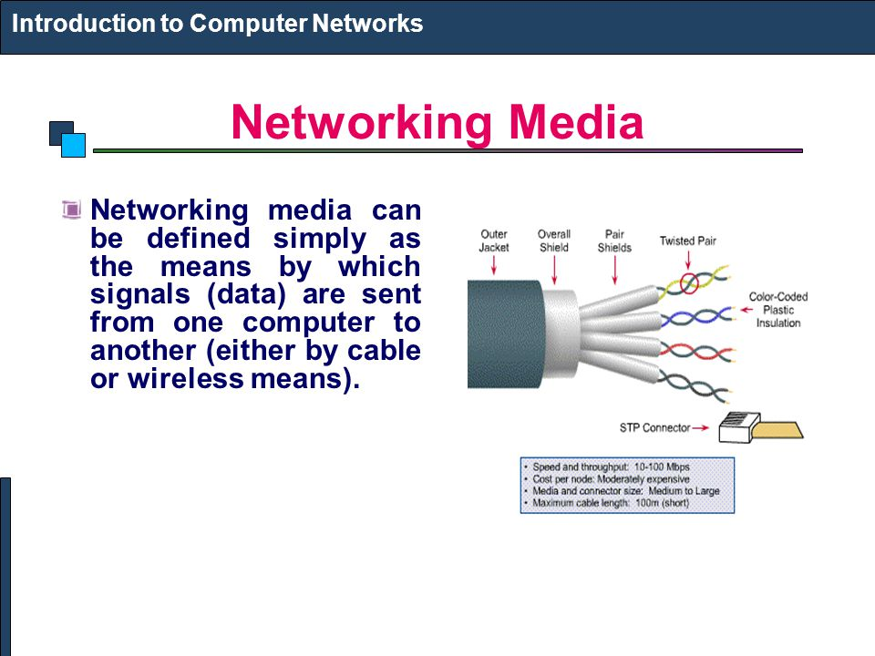 Networking Media Networking media can be defined simply as the means by which signals (data) are sent from one computer to another (either by cable or wireless means).