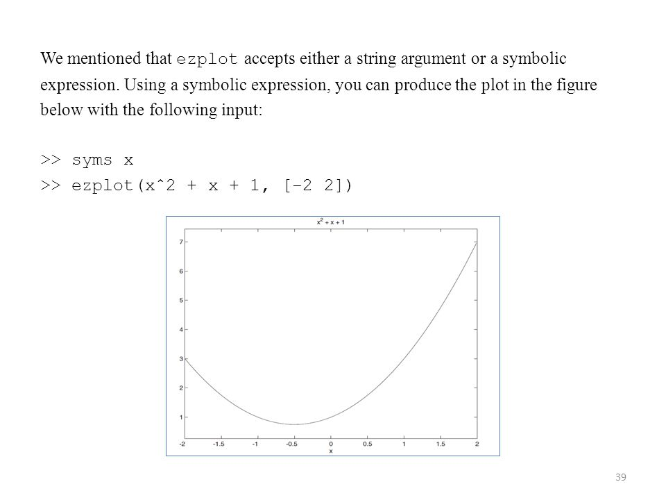 We mentioned that ezplot accepts either a string argument or a symbolic expression. Using a symbolic expression, you can produce the plot in the figur