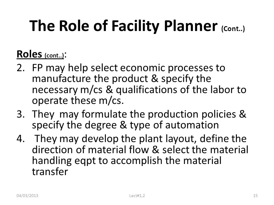 The Role of Facility Planner (Cont..) Roles (cont..) : 2.FP may help select economic processes to manufacture the product & specify the necessary m/cs & qualifications of the labor to operate these m/cs.