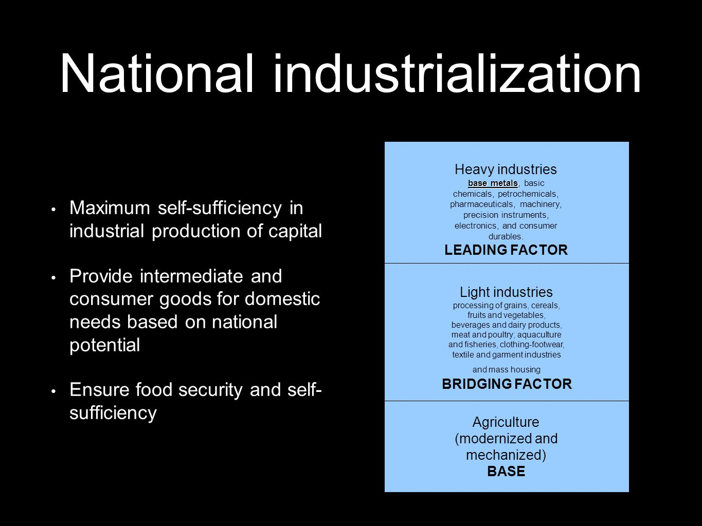 National industrialization Maximum self-sufficiency in industrial production of capital Provide intermediate and consumer goods for domestic needs bas