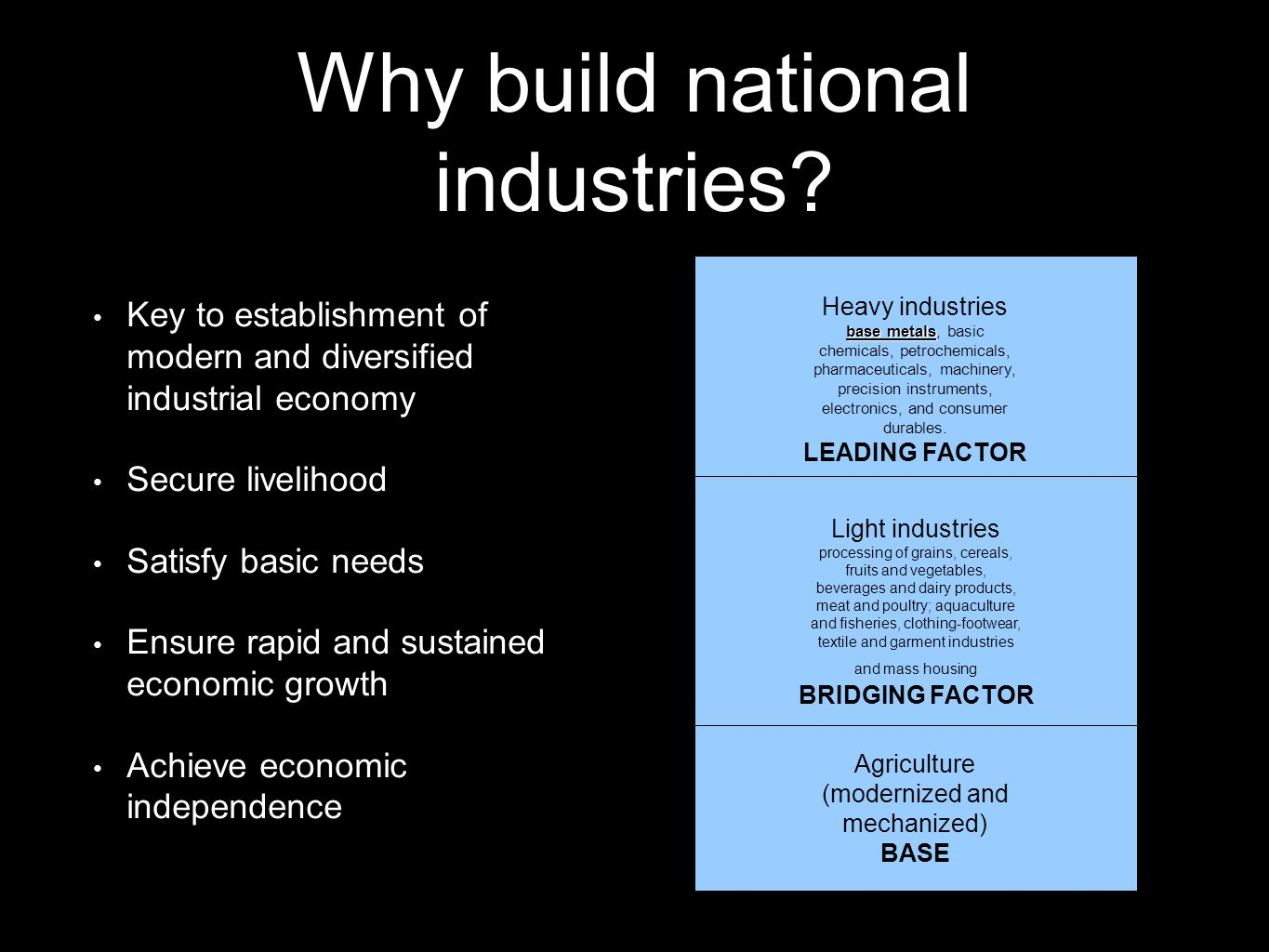 Why build national industries? Key to establishment of modern and diversified industrial economy Secure livelihood Satisfy basic needs Ensure rapid an