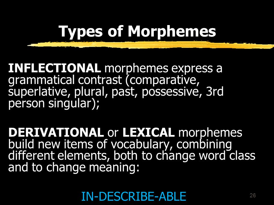 25 Types of Morphemes FREE MORPHEMES can operate freely in the language, occurring as separate words: study ; go; yes BOUND MORPHEMES cannot occur on their own (anti-; -ation; -ment; -s; -ed).