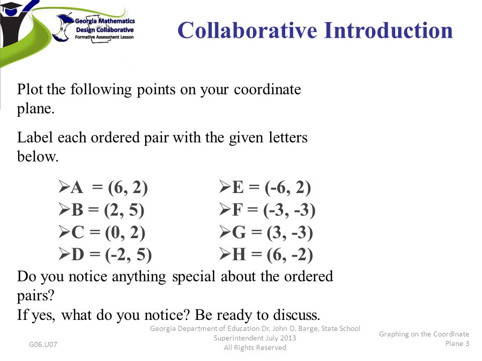 Collaborative Introduction Plot the following points on your coordinate plane.