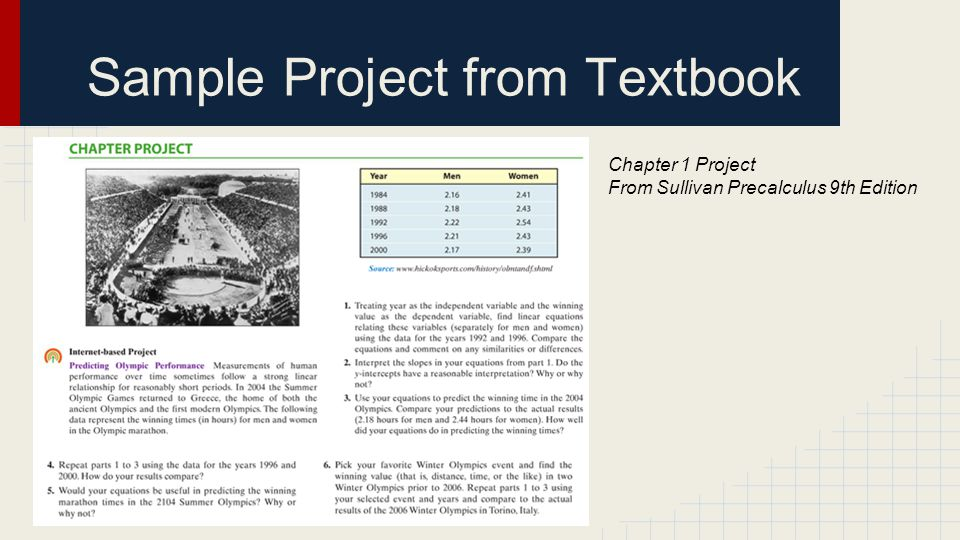 Sample Project from Textbook Chapter 1 Project From Sullivan Precalculus 9th Edition