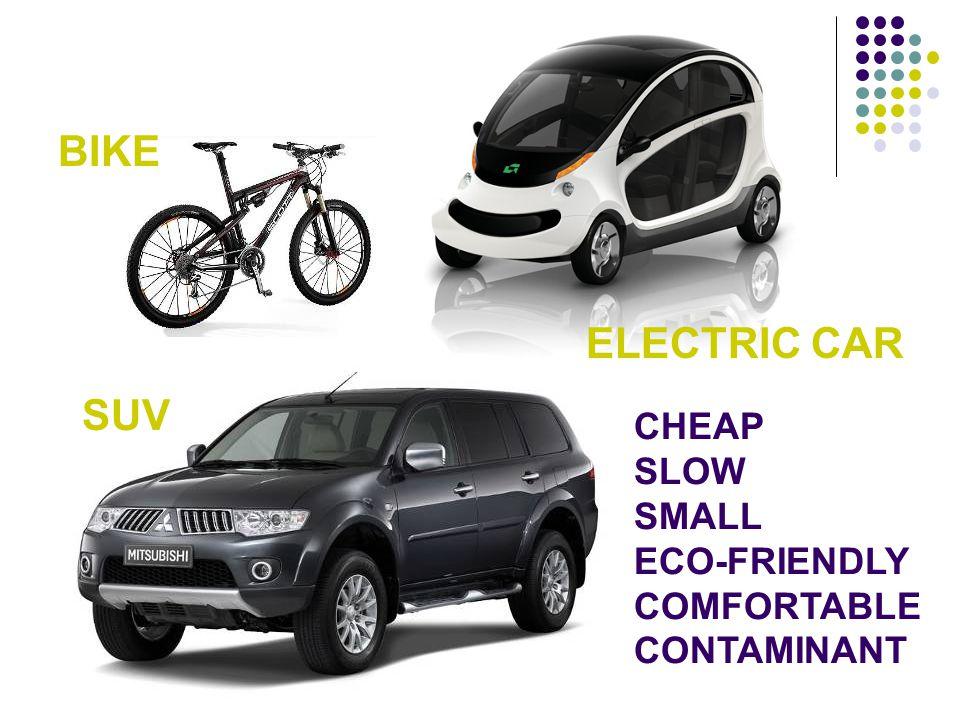 BIKE SUV ELECTRIC CAR CHEAP SLOW SMALL ECO-FRIENDLY COMFORTABLE CONTAMINANT