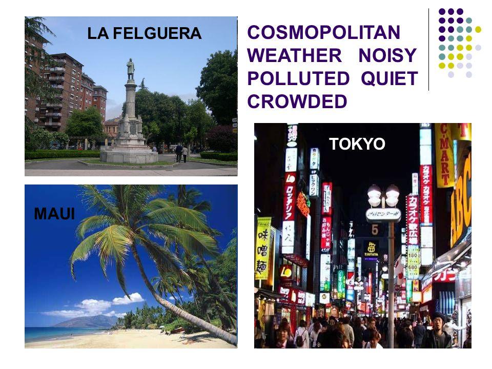 TOKYO LA FELGUERA MAUI COSMOPOLITAN WEATHER NOISY POLLUTED QUIET CROWDED