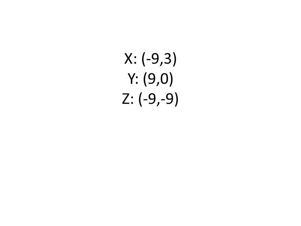 X: (-9,3) Y: (9,0) Z: (-9,-9)