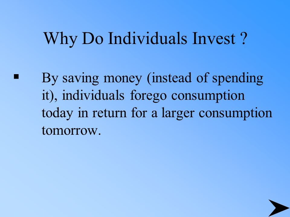 Why Do Individuals Invest .