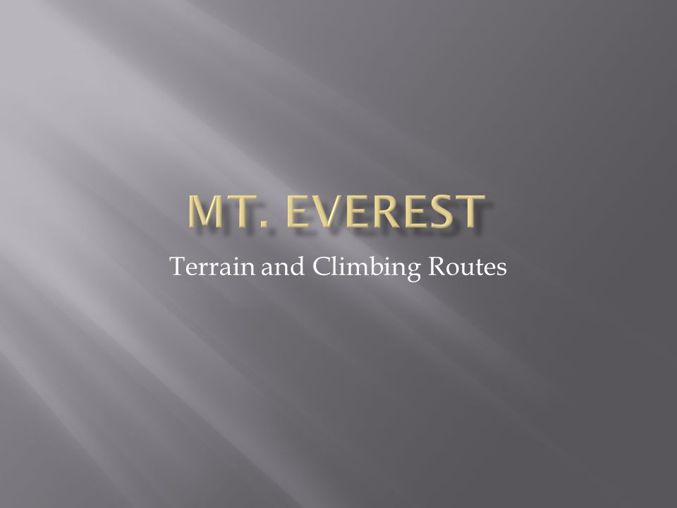Terrain and Climbing Routes