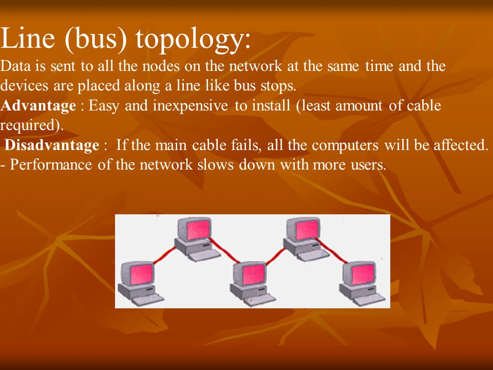 Line (bus) topology: Data is sent to all the nodes on the network at the same time and the devices are placed along a line like bus stops.