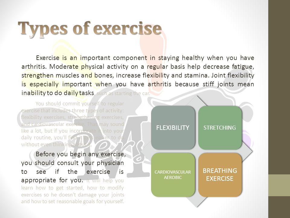 You should commit yourself to regular exercise that includes three types of activity: flexibility exercises, strengthening exercises, and cardiovascular exercise.