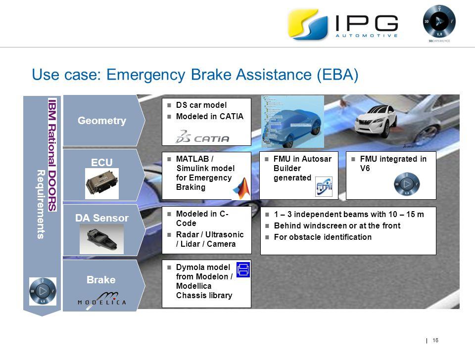 Use case: Emergency Brake Assistance (EBA) 16 Geometry ECU DA Sensor Brake MATLAB / Simulink model for Emergency Braking FMU in Autosar Builder genera
